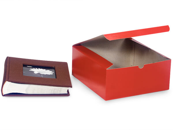 Red Gloss Gift Boxes 8x8x3.5""