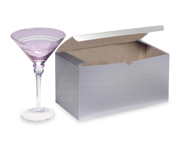 Silver Gloss Gift Boxes 9x4.5x4.5""