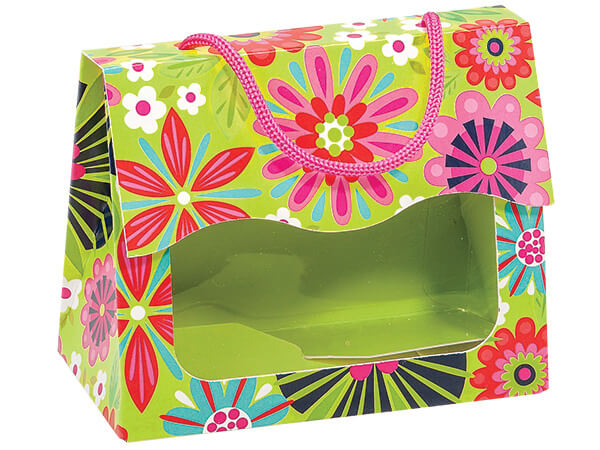"""*Bright Blooms Gourmet Window Totes Large 6.5x3.25x5.25"""", 6 Pack"""