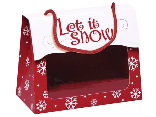 """Let It Snow Gourmet Window Totes, Totes, Large 6.5x3.25x5.25"""", 6 Pack"""