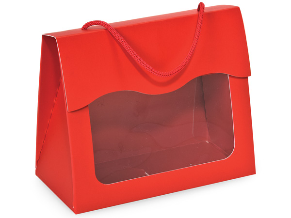 """*Red Gourmet  Window Totes, Large 6.5x3.25x5.25"""", 6 Pack"""