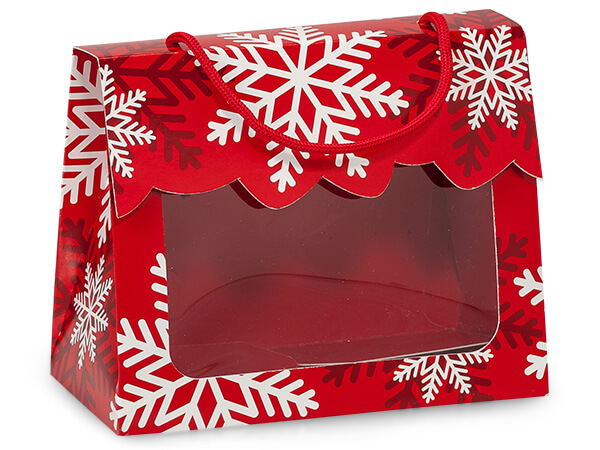 "*Red & White Snowflakes Window Totes, Large 6.5x3.25x5.25"", 6 Pack"