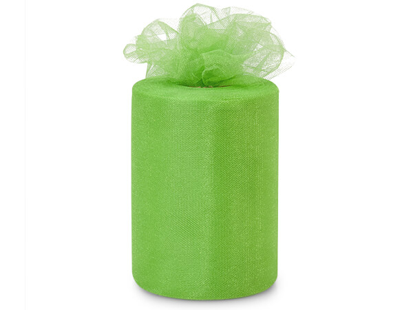 "Apple Green Glimmer Tulle Ribbon, 6""x100 yards"