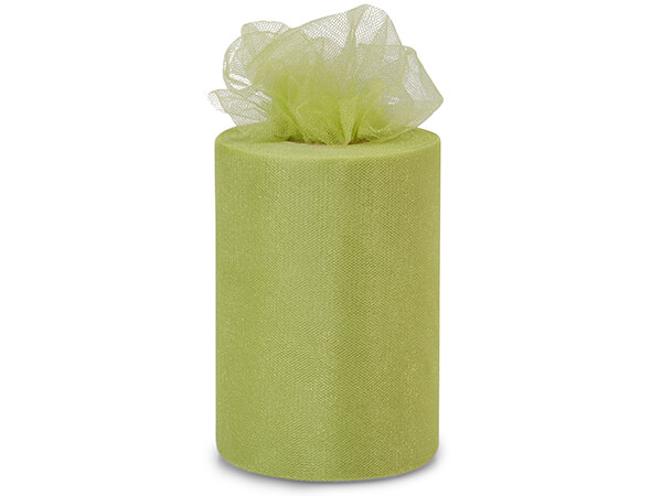 "Olive Green Glimmer Tulle Ribbon, 6""x100 yards"