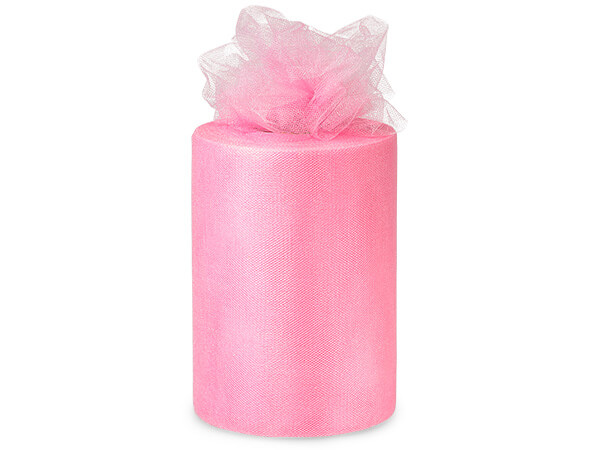 "Paris Pink Glimmer Tulle Ribbon, 6""x100 yards"