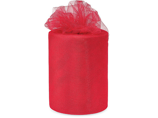 "Red Glimmer Tulle Ribbon, 6""x100 yards"