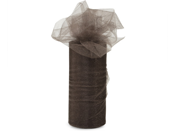 "*Chocolate Glimmer Tulle Ribbon, 6""x25 yards"
