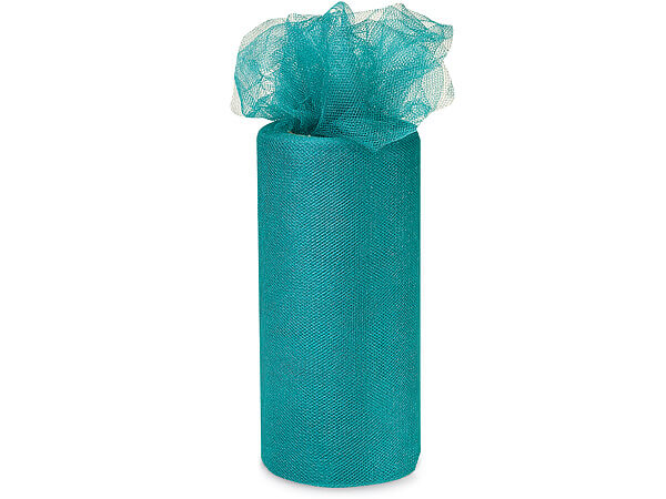 "Jade Blue Glimmer Tulle Ribbon, 6""x25 yards"