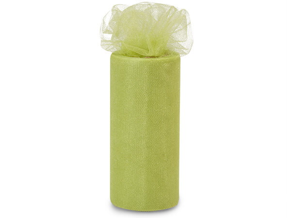 """Olive Green Glimmer Tulle Ribbon, 6""""x25 yards"""