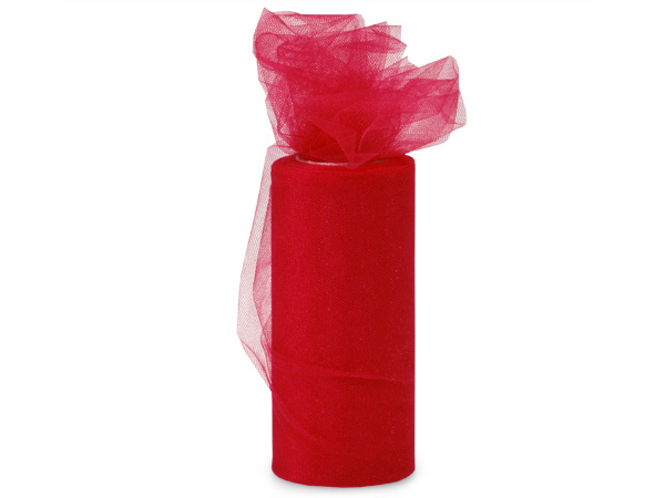 "Red Glimmer Tulle Ribbon, 6""x25 yards"