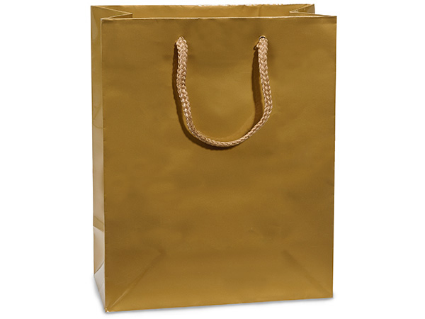"Gold Gloss Gift Bags, Cub 8x4x10"", 100 Pack"