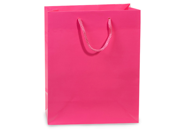 "Hot Pink Gloss Gift Bags, Cub 8x4x10"", 100 Pack"