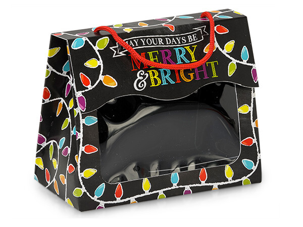 """*Merry & Bright Chalkboard Window Totes, Small 5x2.5x4.25"""", 6 Pack"""