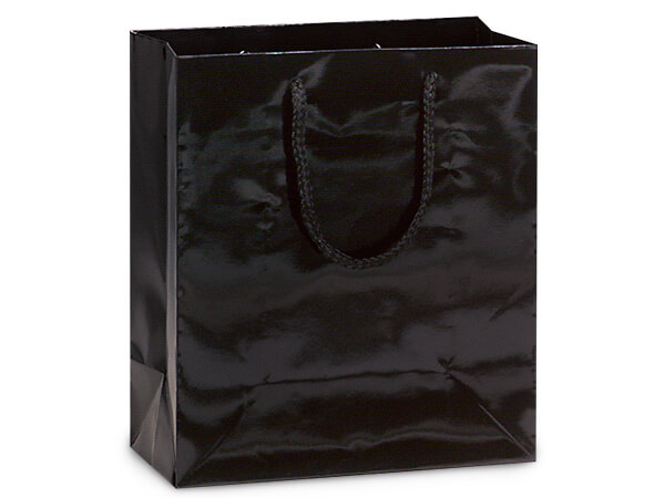 "Black Gloss Gift Bags, Cub 8x4x10"", 10 Pack"
