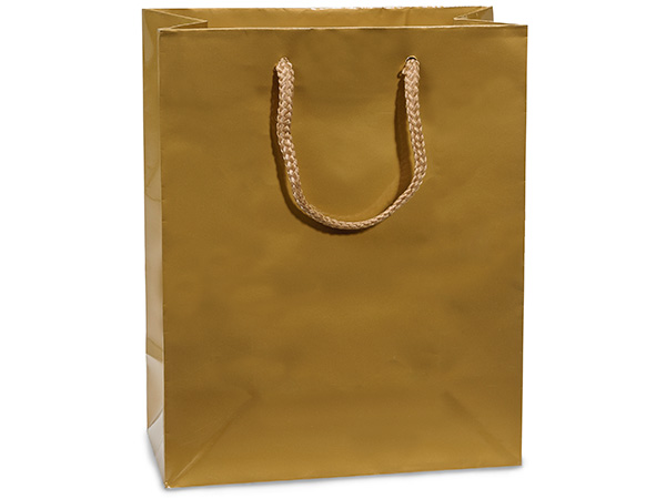 "Gold Gloss Gift Bags, Cub 8x4x10"", 10 Pack"