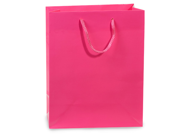 "Hot Pink Gloss Gift Bags, Cub 8x4x10"", 10 Pack"