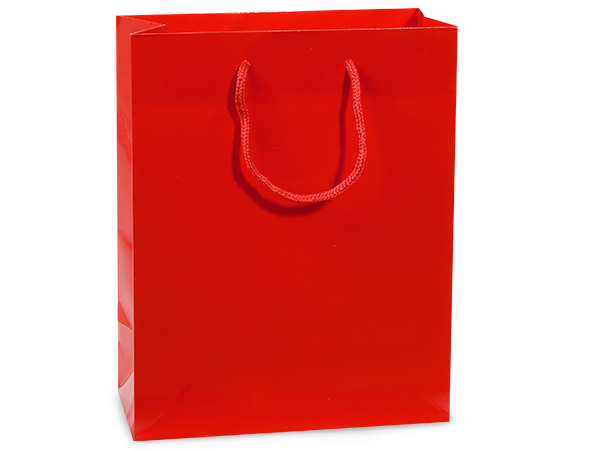 "Red Gloss Gift Bags, Cub 8x4x10"", 10 Pack"