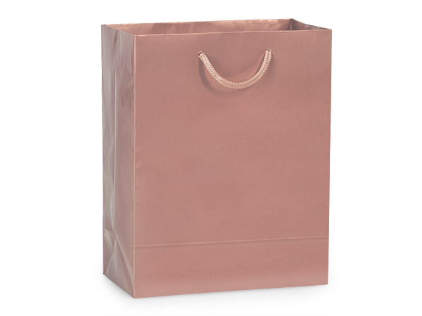"Rose Gold Gloss Gift Bags, Cub 8x4x10"", 10 Pack"