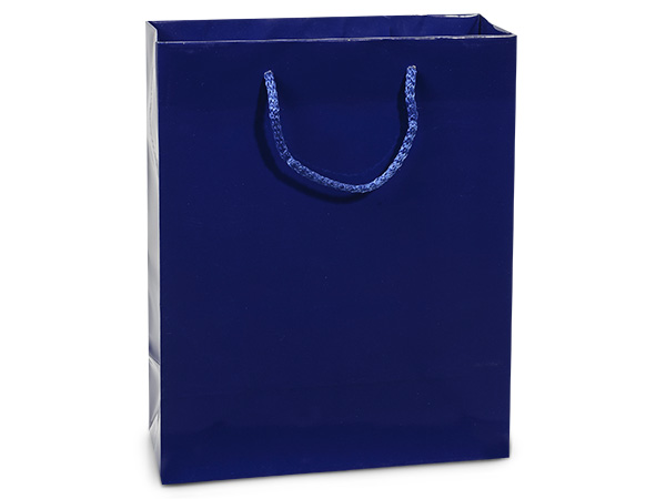 "Royal Blue Gloss Gift Bags, Cub 8x4x10"", 10 Pack"