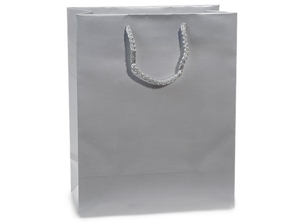 "Silver Gloss Gift Bags, Cub 8x4x10"", 10 Pack"