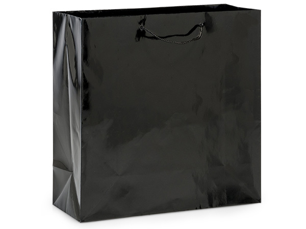 "Black Gloss Gift Bags, Filly 12x5x12"", 100 Pack"