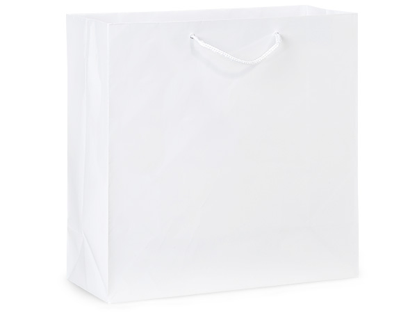 "White Gloss Gift Bags, Filly 12x5x12"", 100 Pack"