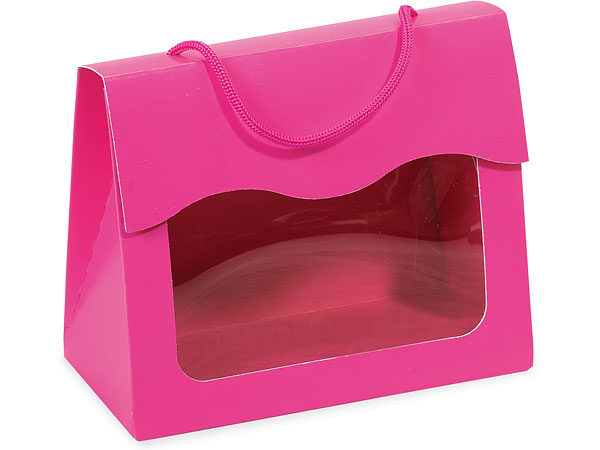 """*Hot Pink Gourmet Window Totes, Small 5x2.5x4.25"""", 6 Pack"""