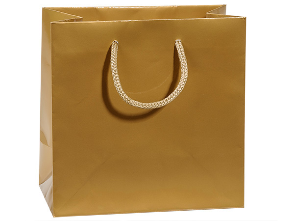 "Gold Gloss Gift Bags, Jewel 6.5x3.5x6.5"", 100 Pack"