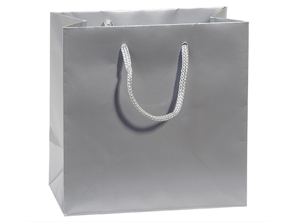 """Silver Gloss Gift Bags, Jewel 6.5x3.5x6.5"""", 100 Pack"""