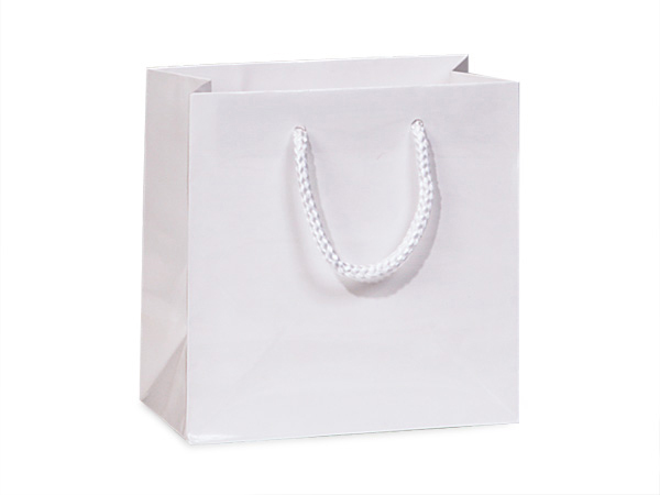 "White Gloss Gift Bags, Jewel 6.5x3.5x6.5"", 100 Pack"