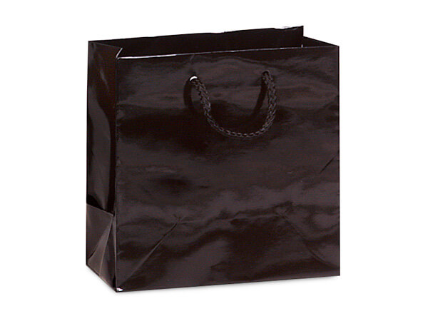 "Black Gloss Gift Bags, Jewel 6.5x3.5x6.5"", 10 Pack"