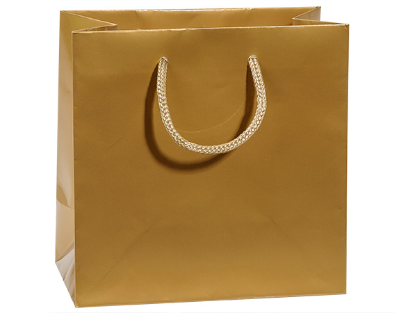 "Gold Gloss Gift Bags, Jewel 6.5x3.5x6.5"", 10 Pack"