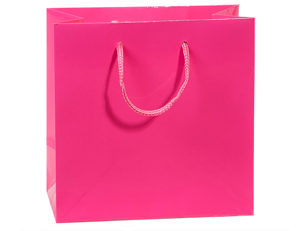 """Hot Pink Gloss Gift Bags, Jewel 6.5x3.5x6.5"""", 10 Pack"""