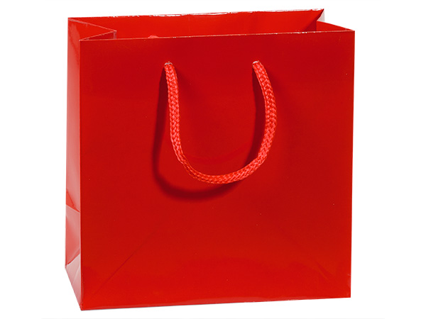 "Red Gloss Gift Bags, Jewel 6.5x3.5x6.5"", 10 Pack"