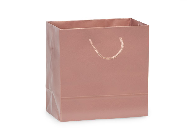 "Rose Gold Gloss Gift Bags, Jewel 6.5x3.5x6.5"", 10 Pack"