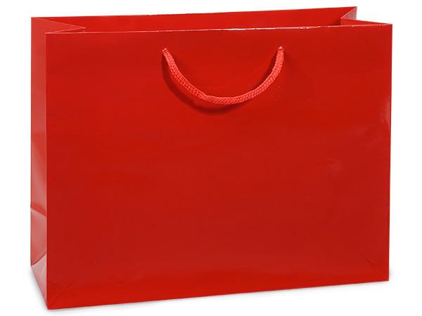 "Red Gloss Gift Bags, Medium 13x5x10"", 100 Pack"
