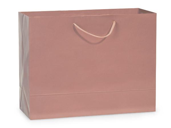 "Rose Gold Gloss Gift Bags, Medium 13x5x10"", 100 Pack"