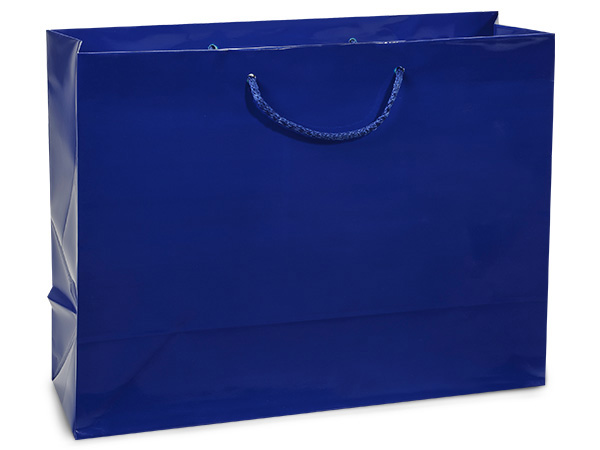 "Royal Blue Gloss Gift Bags, Medium 13x5x10"", 100 Pack"
