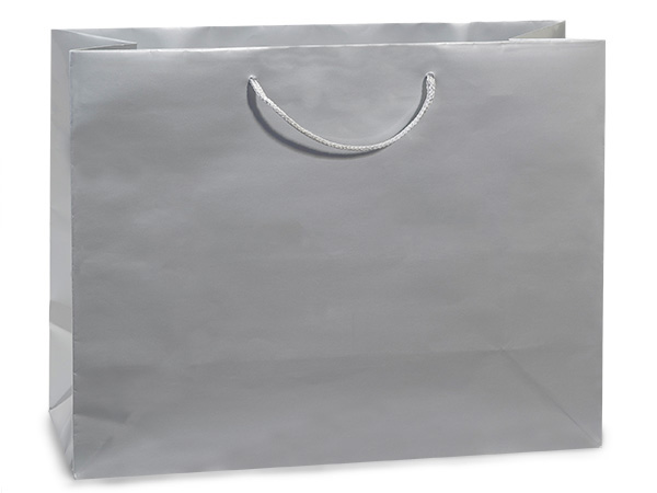 "Silver Gloss Gift Bags, Medium 13x5x10"", 100 Pack"