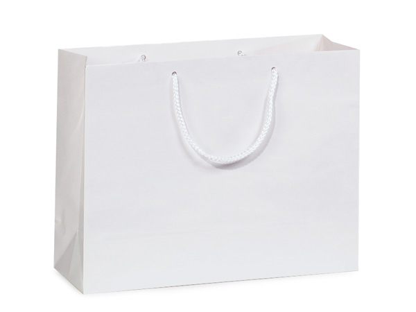"White Gloss Gift Bags, Medium 13x5x10"", 100 Pack"