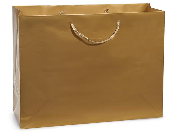 "Gold Gloss Gift Bags, Medium 13x5x10"", 10 Pack"