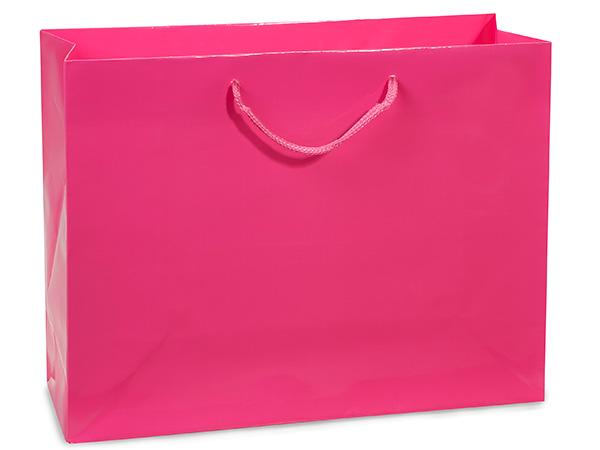 "Hot Pink Gloss Gift Bags, Medium 13x5x10"", 10 Pack"
