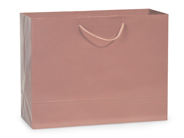 "Rose Gold Gloss Gift Bags, Medium 13x5x10"", 10 Pack"