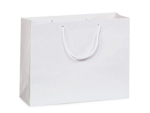 "White Gloss Gift Bags, Medium 13x5x10"", 10 Pack"