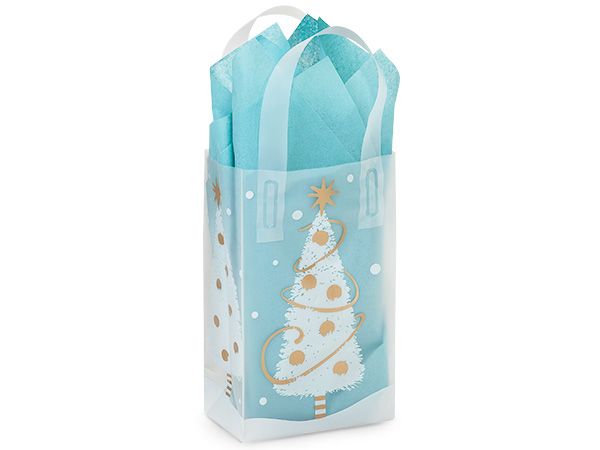 "Golden Trimmings Plastic Gift Bags, Rose 5x3x8"", 25 Pack"