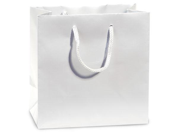 "White Gloss Gift Bags, Petite 4x2.5x4"", 100 Pack"