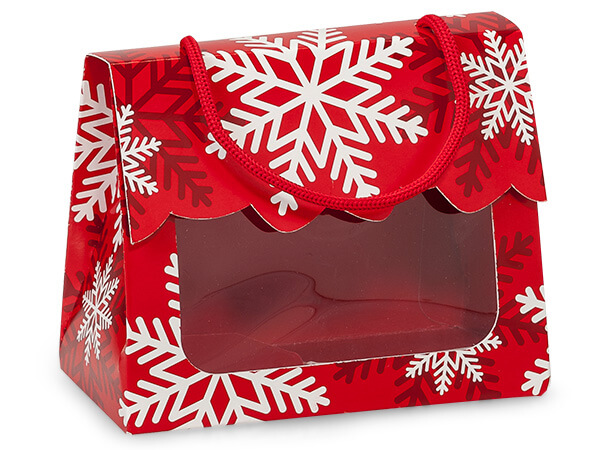 """*Red & White Snowflakes Window Totes, Small 5x2.5x4.25"""", 6 Pack"""