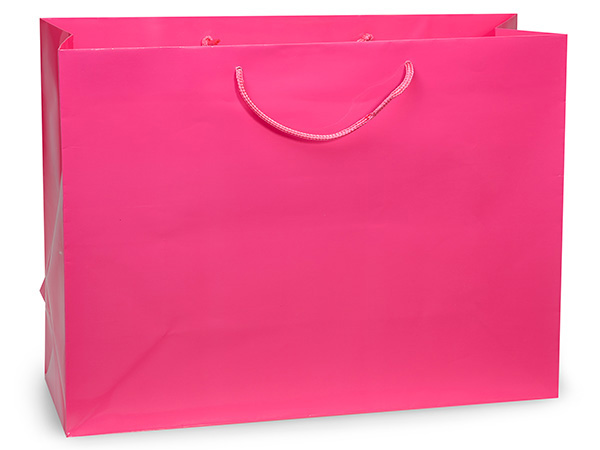 "Hot Pink Gloss Gift Bags, Vogue 16x6x12"", 100 Pack"