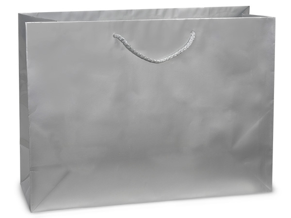 """Silver Gloss Gift Bags, Vogue 16x6x12"""", 100 Pack"""