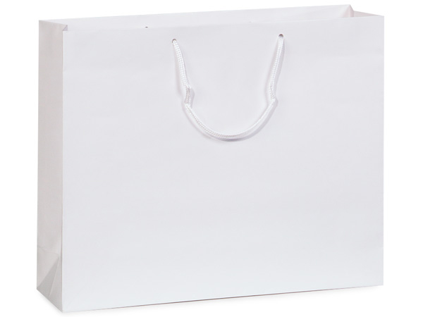 "White Gloss Gift Bags, Vogue 16x6x12"", 100 Pack"